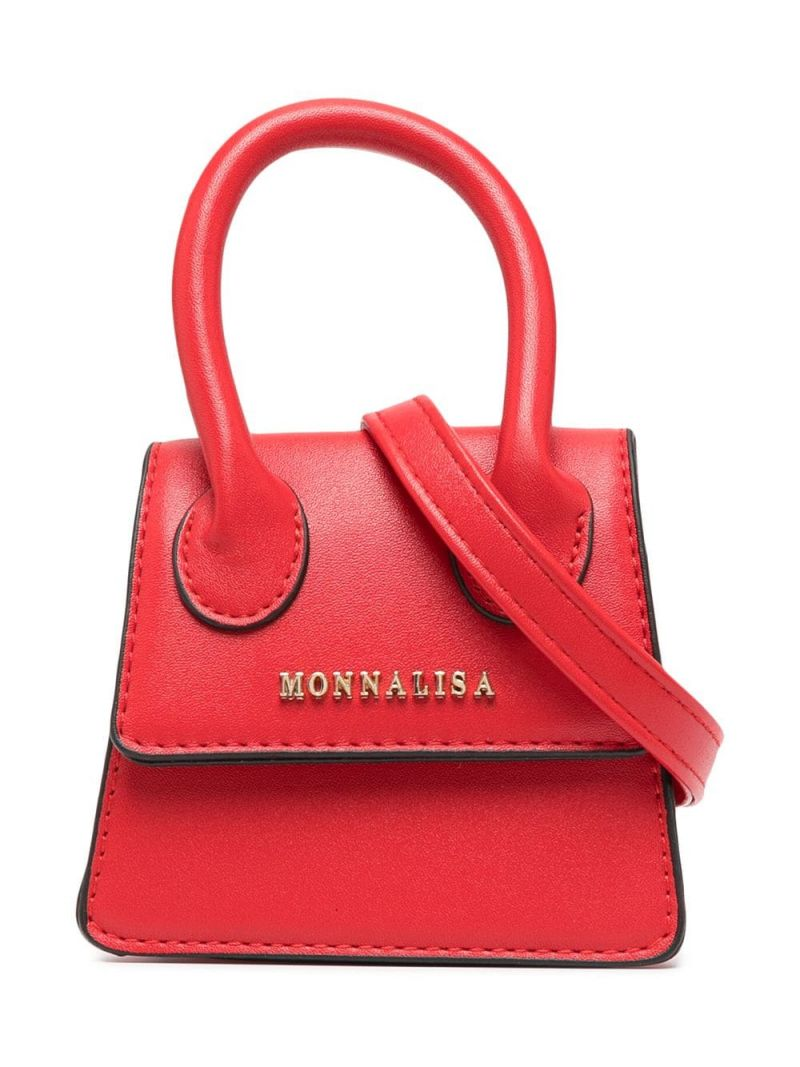 MONNALISA: logo-detailed faux leather handbag Color Red_1