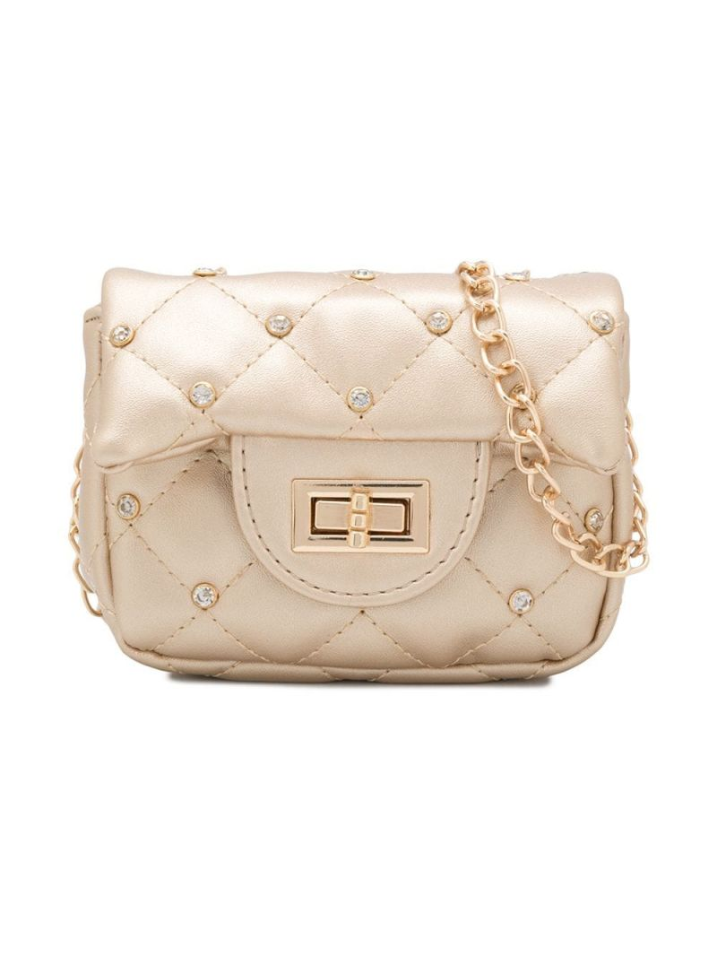 MONNALISA: crystal-embellished faux leather crossbody bag Color Gold_1