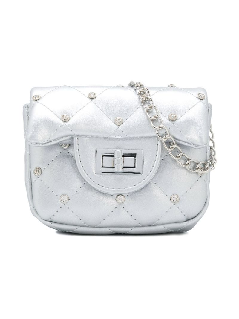 MONNALISA: crystal-embellished faux leather crossbody bag Color Silver_1