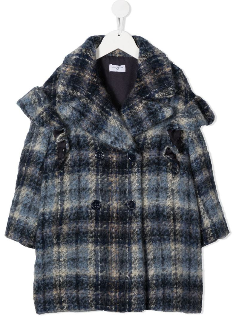 MONNALISA: check wool blend double-breasted coat Color Blue_1