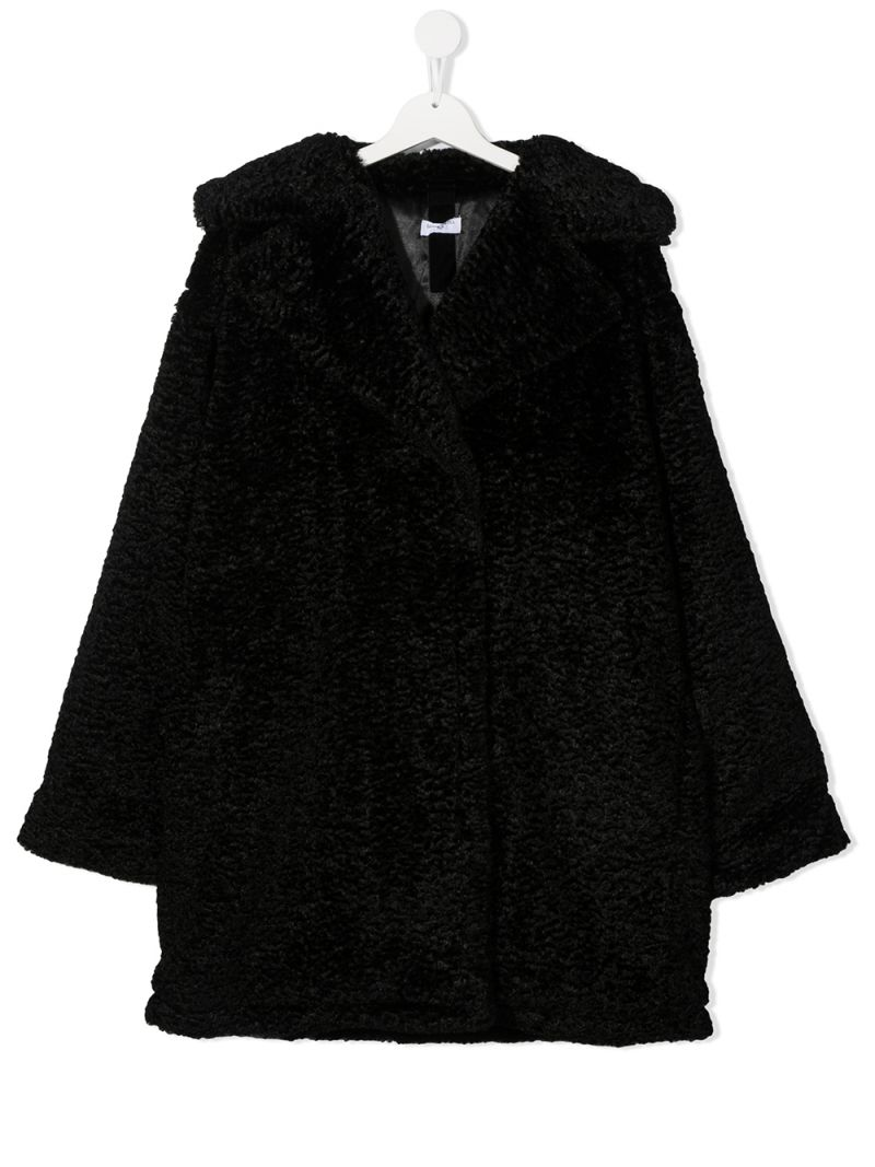 MONNALISA: MNLS embroidered bouclè coat Color Black_1