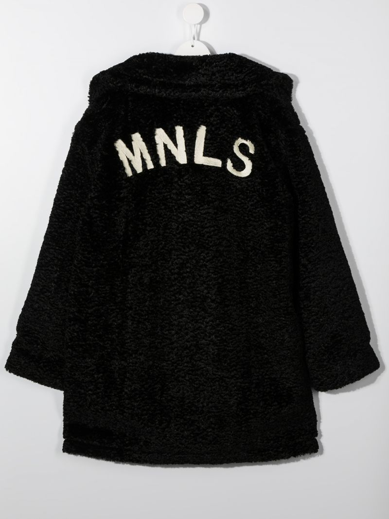 MONNALISA: MNLS embroidered bouclè coat Color Black_2