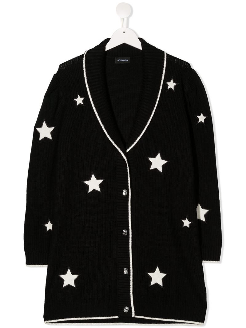 MONNALISA: star patches wool blend cardigan Color Black_1