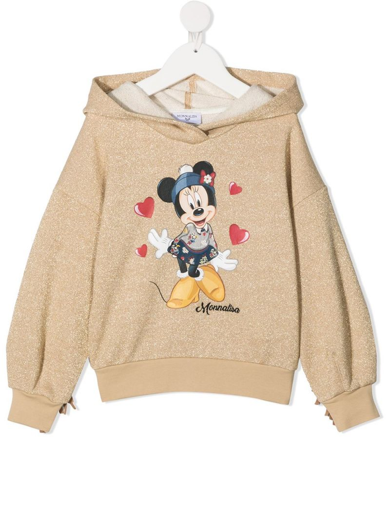 MONNALISA: Minnie print cotton blend hoodie Color Gold_1