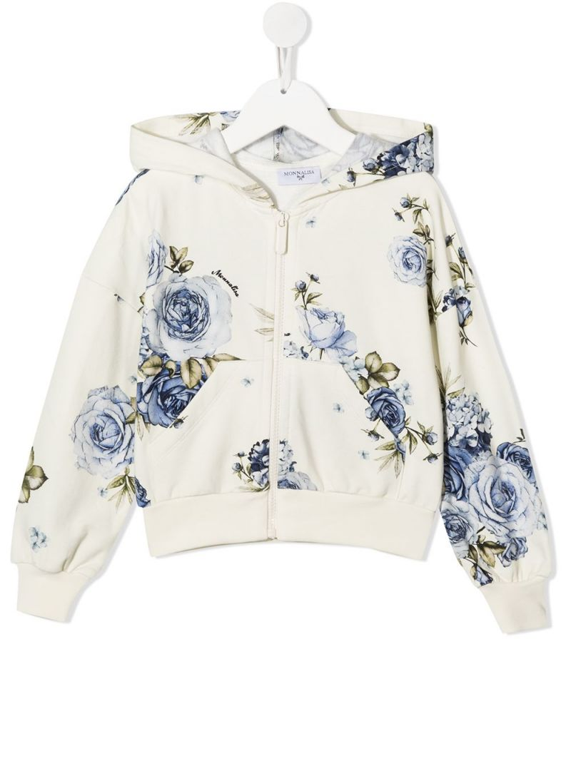 MONNALISA: roses print stretch cotton full-zip hoodie Color Neutral_1