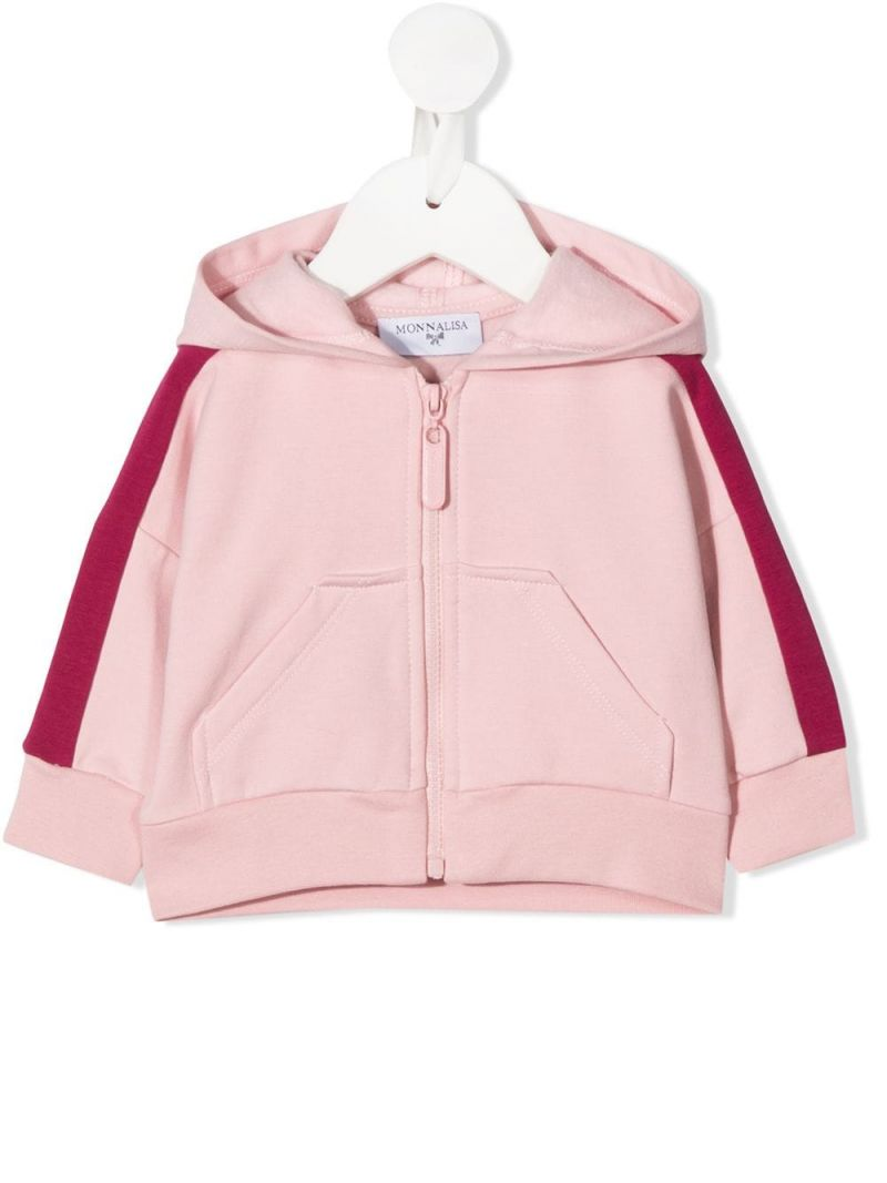 MONNALISA: Teddy Bear print stretch cotton full-zip hoodie Color Neutral_1