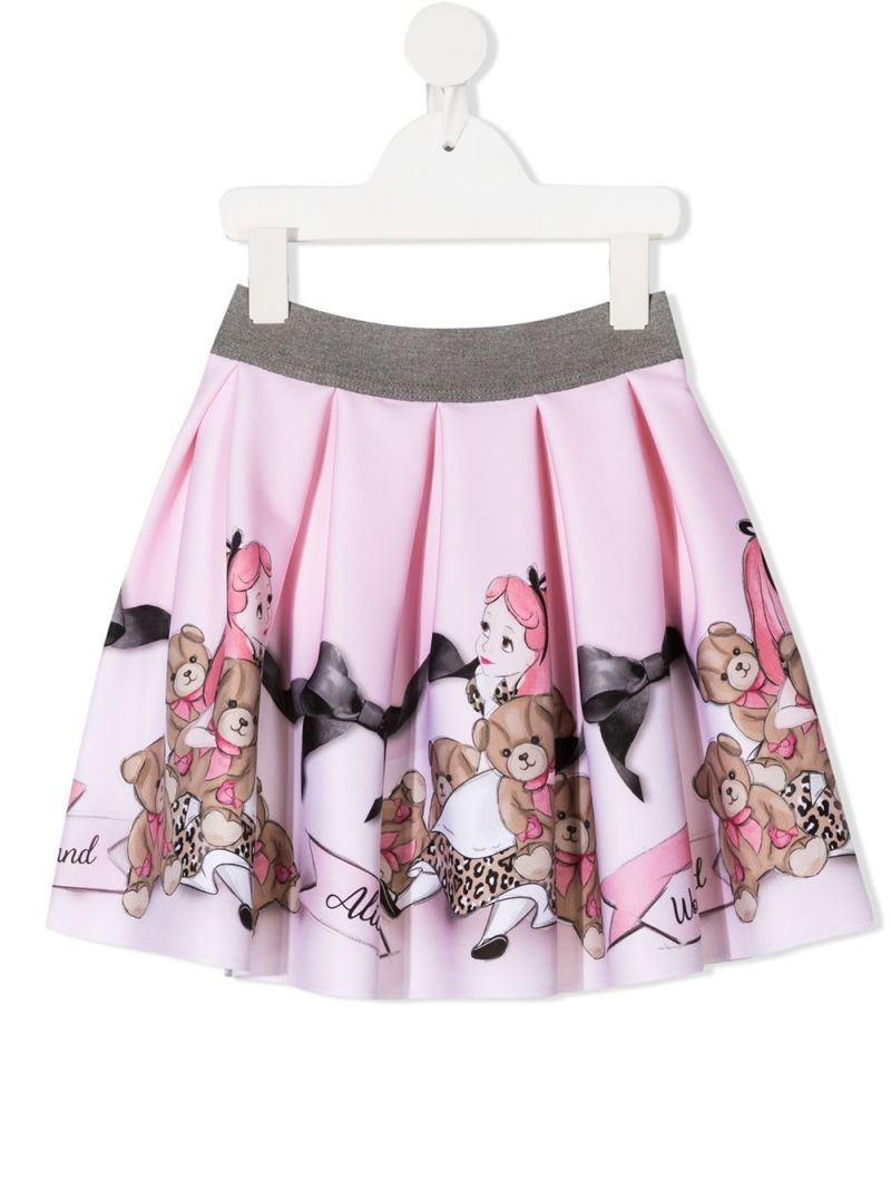 MONNALISA: Alice in Wonderland print neoprene circle skirt Color Pink_1