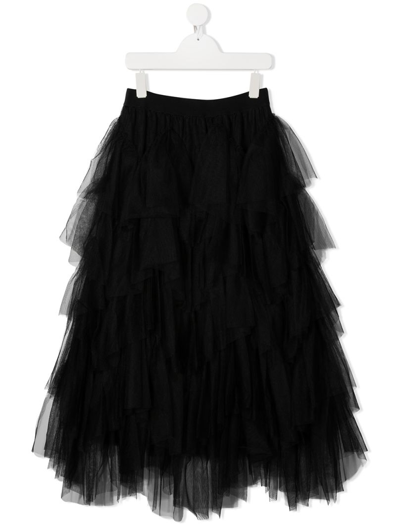 MONNALISA: multilayer tulle flounced skirt Color Black_1