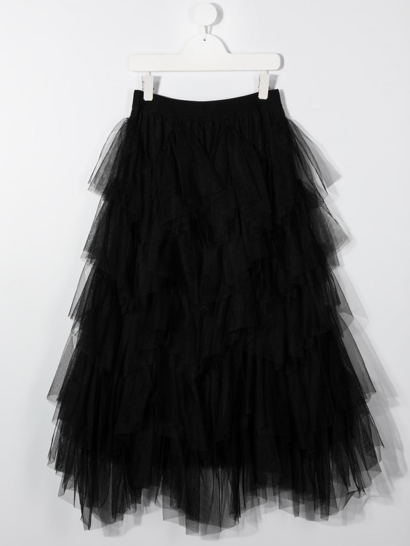 MONNALISA: multilayer tulle flounced skirt Color Black_2