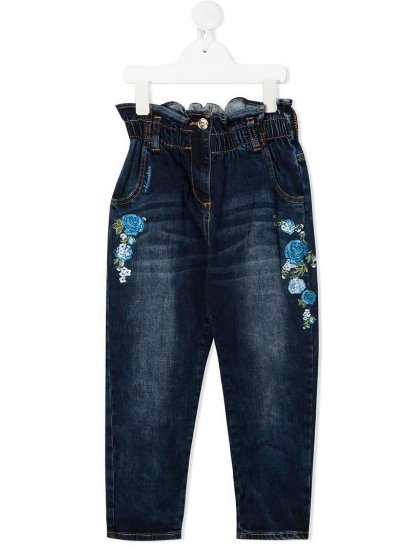 MONNALISA: floral embroidered high-waist jeans Color Blue_1