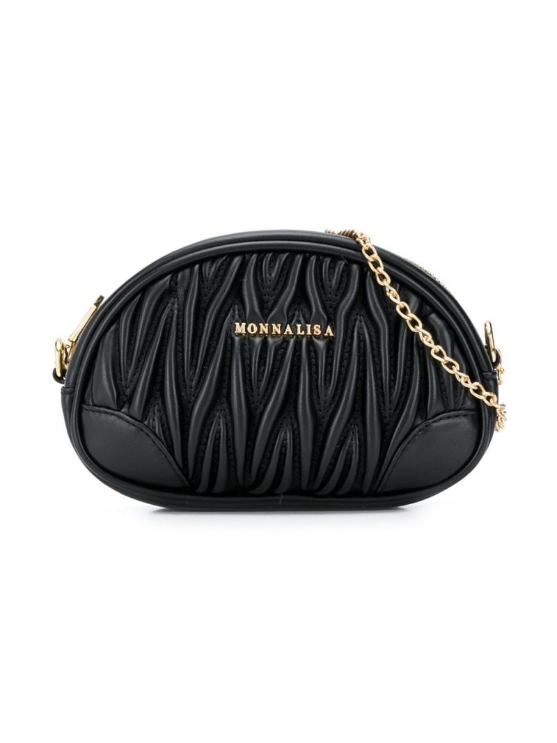 MONNALISA: quilted faux leather belt bag Color Black_1