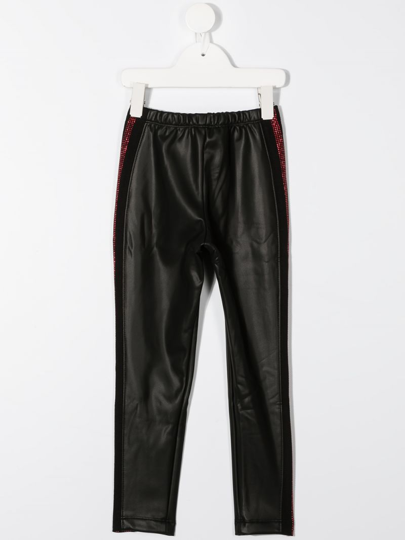 MONNALISA: faux leather biker pants Color Black_2