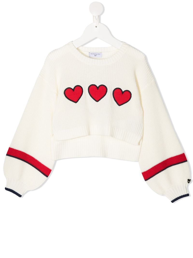 MONNALISA: heart patches wool blend pullover Color White_1