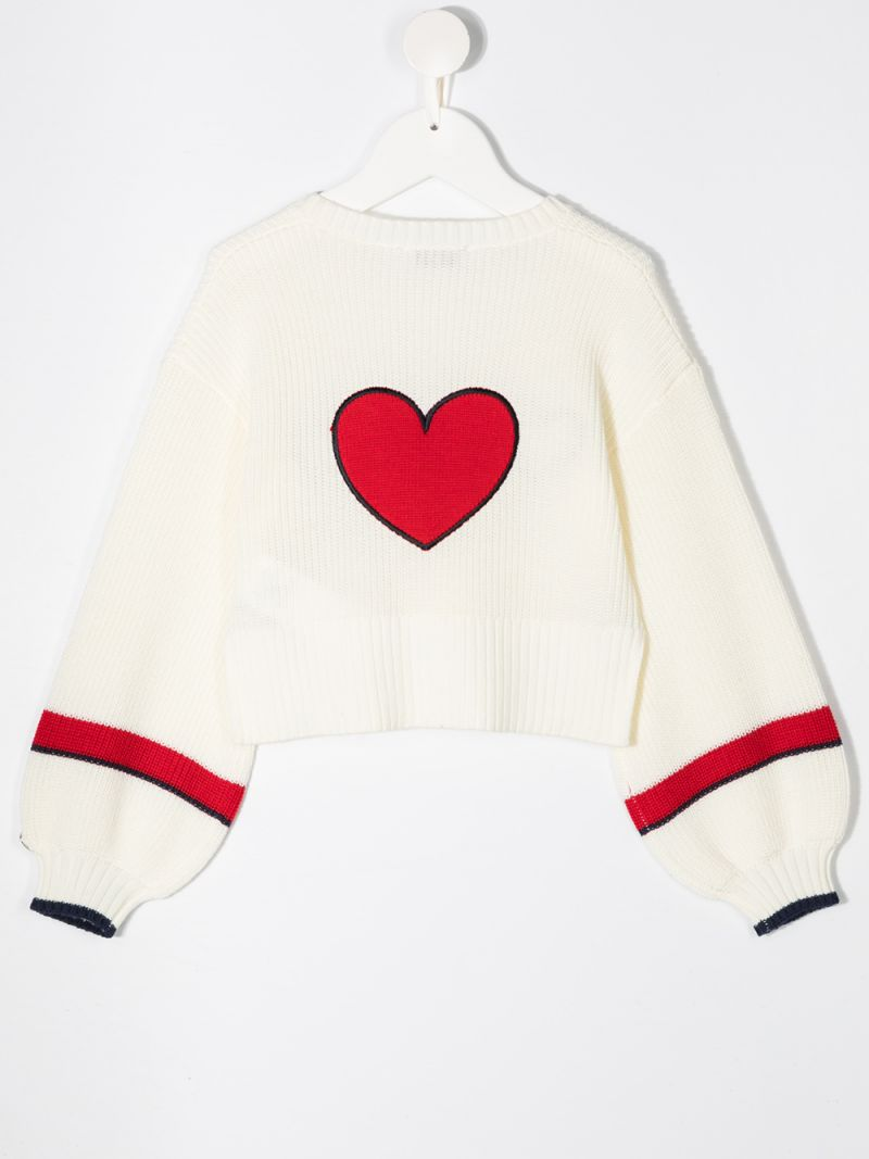 MONNALISA: heart patches wool blend pullover Color White_2