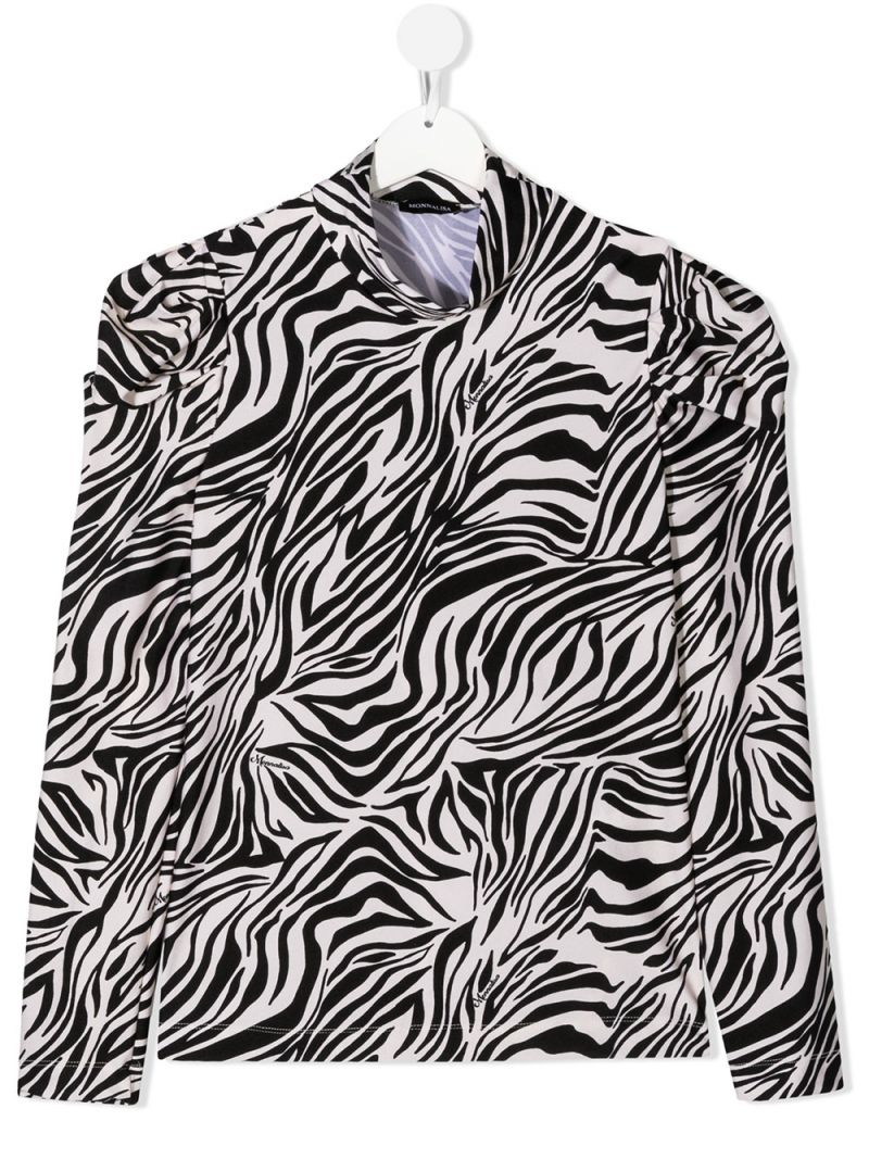 MONNALISA: zebra printed stretch jersey long-sleeved top Color Neutral_1