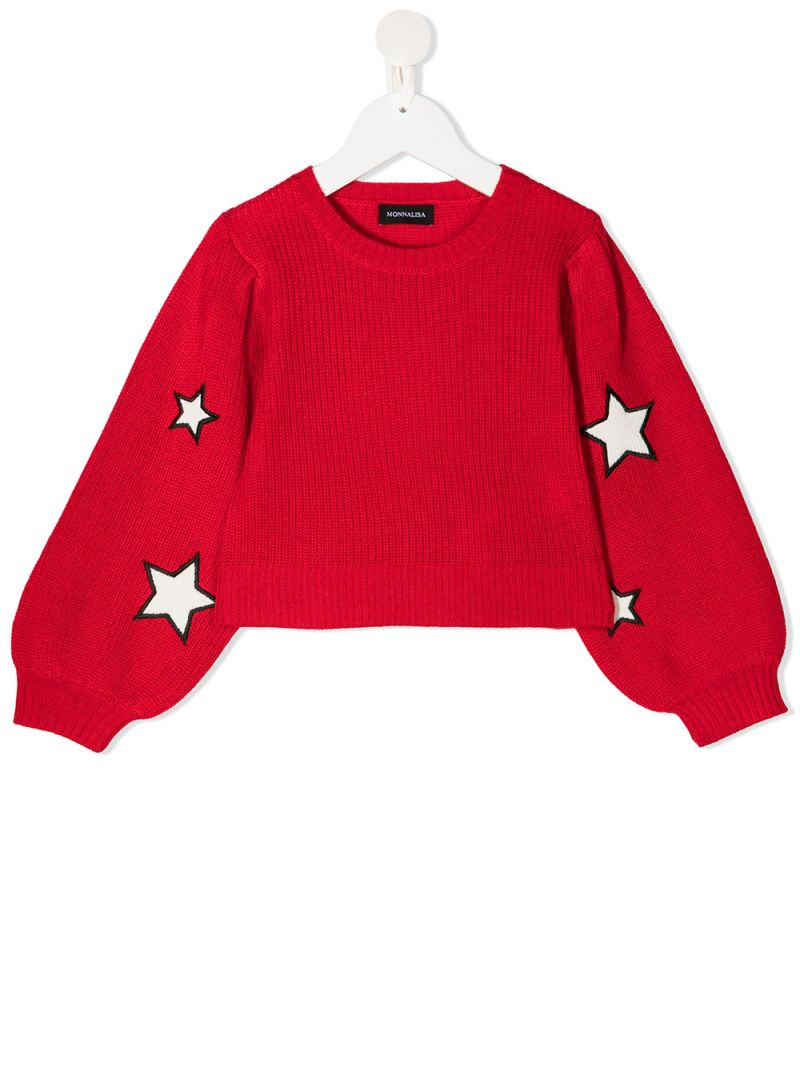 MONNALISA: star patches wool blend pullover Color Red_1