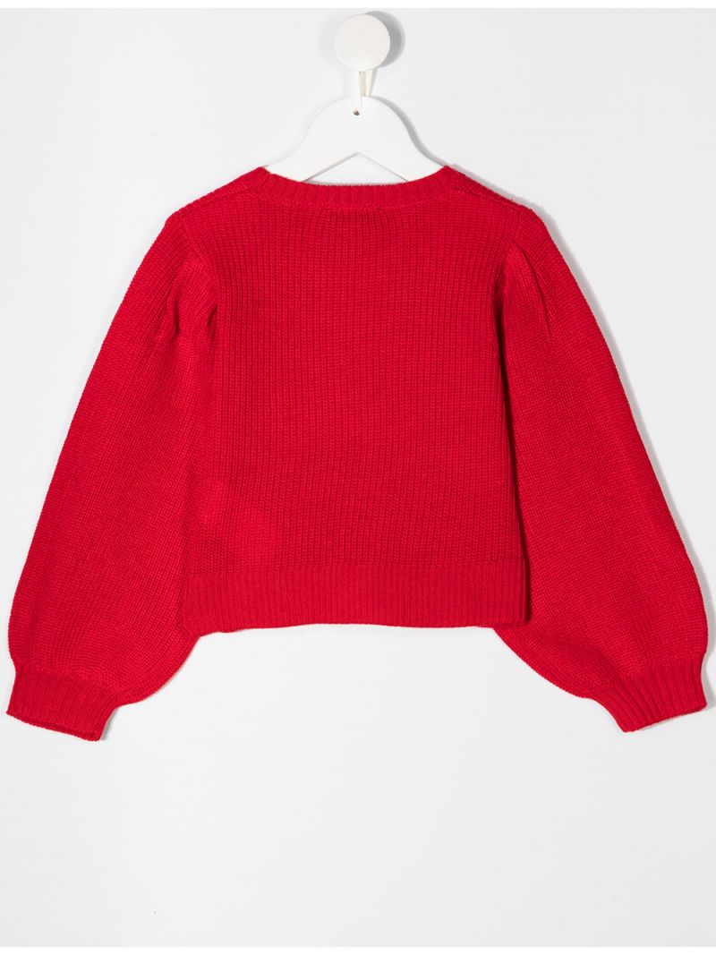 MONNALISA: star patches wool blend pullover Color Red_2