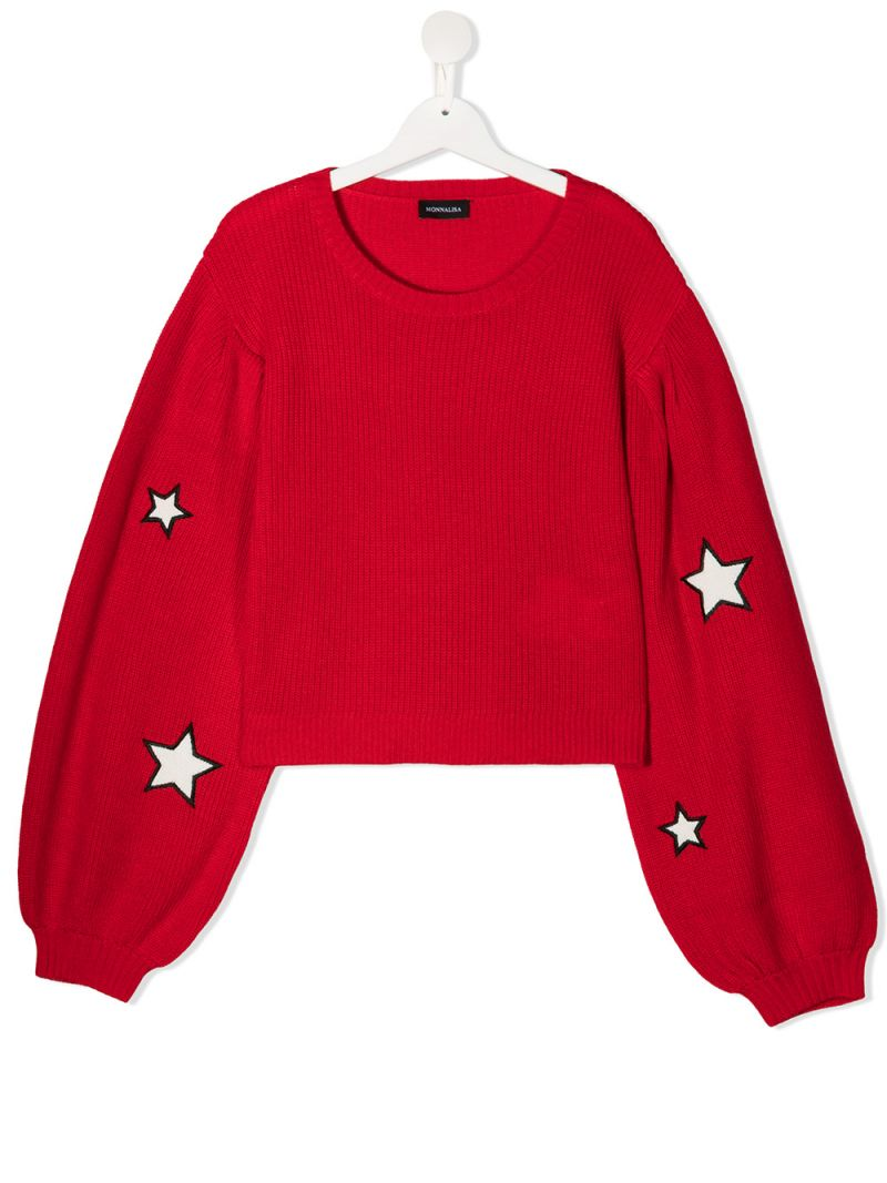 MONNALISA: pullover in misto lana patch stelle Colore Rosso_1