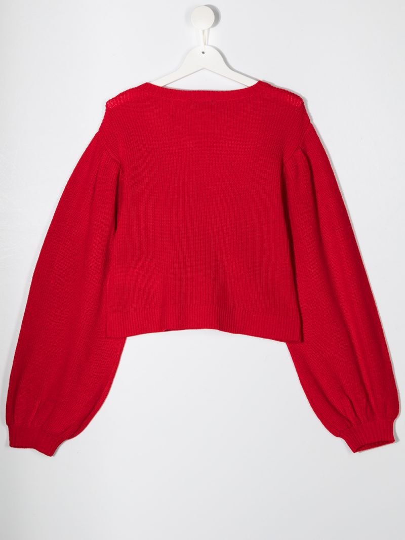 MONNALISA: pullover in misto lana patch stelle Colore Rosso_2