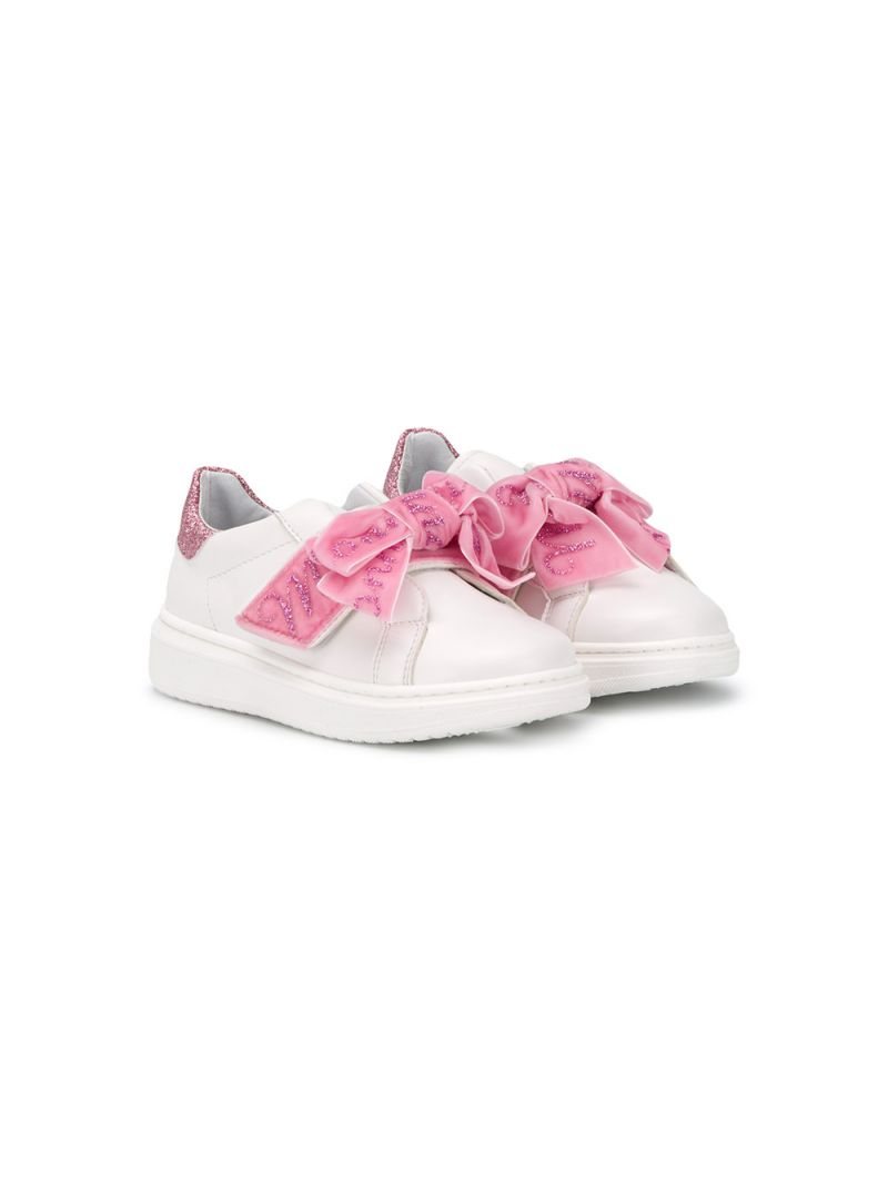 MONNALISA: bow-detailed faux leather sneakers Color White_1