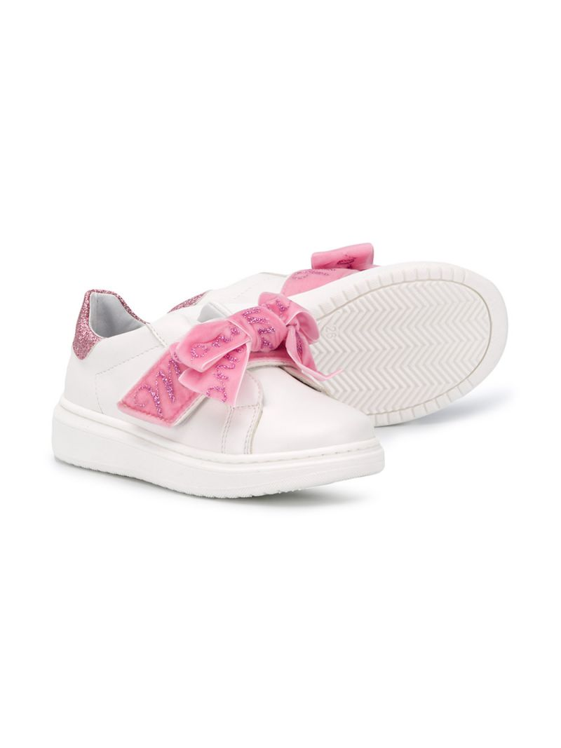 MONNALISA: bow-detailed faux leather sneakers Color White_2