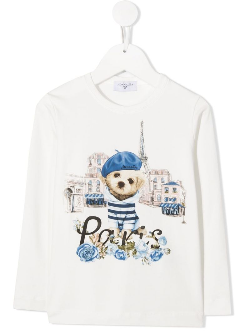 MONNALISA: Paris print stretch cotton long-sleeved t-shirt Color White_1