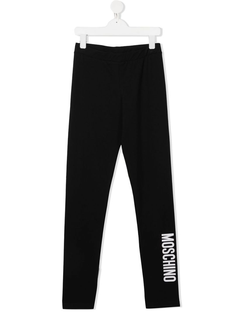 MOSCHINO KIDS: Moschino print stretch cotton leggings Color Black_1