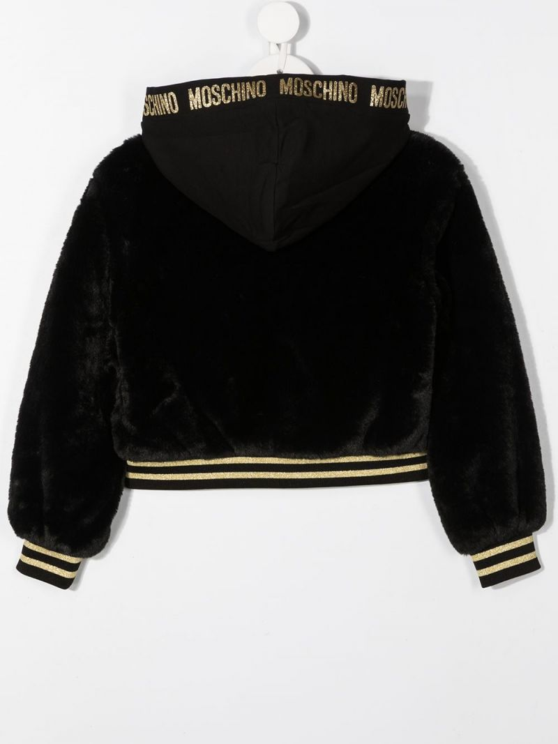 MOSCHINO KIDS: Moschino Teddy Bear patch faux fur full-zip jacket Color Black_2