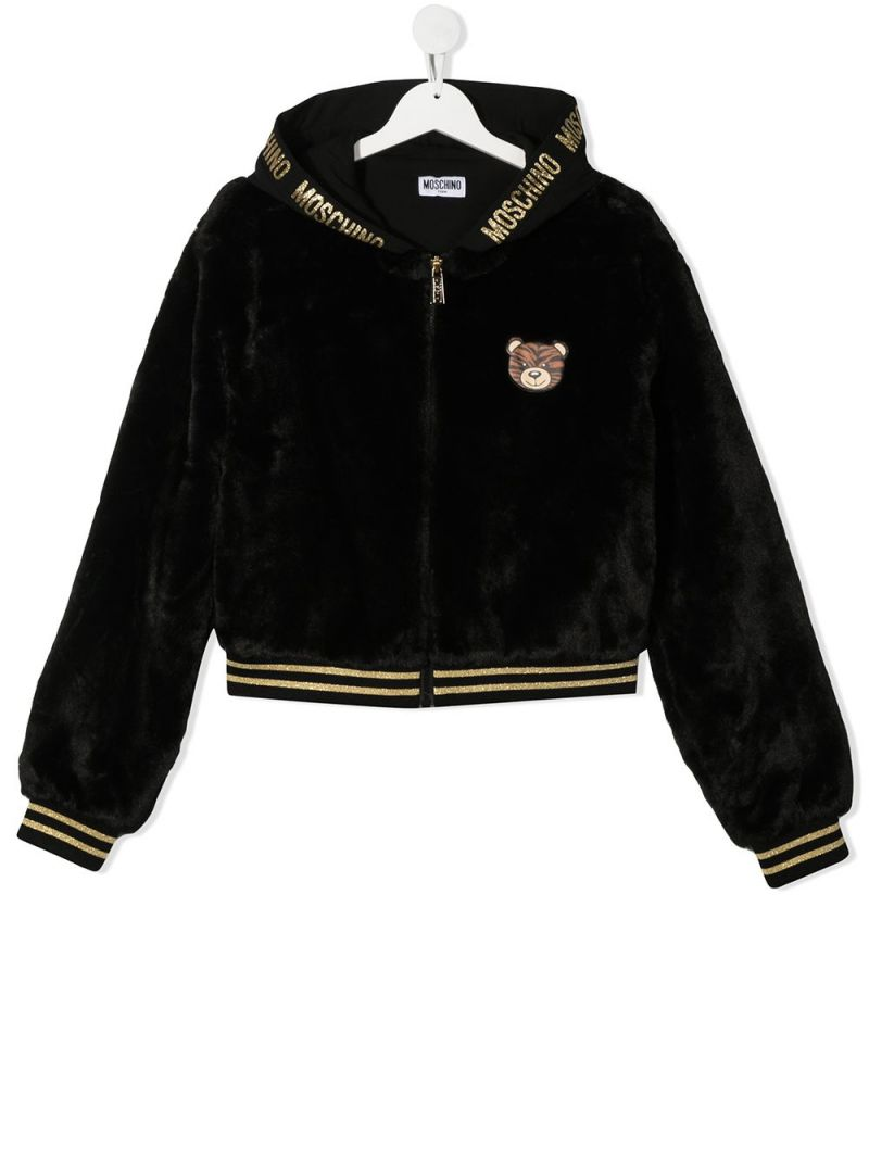 MOSCHINO KIDS: Moschino Teddy Bear patch faux fur full-zip jacket Color Black_1