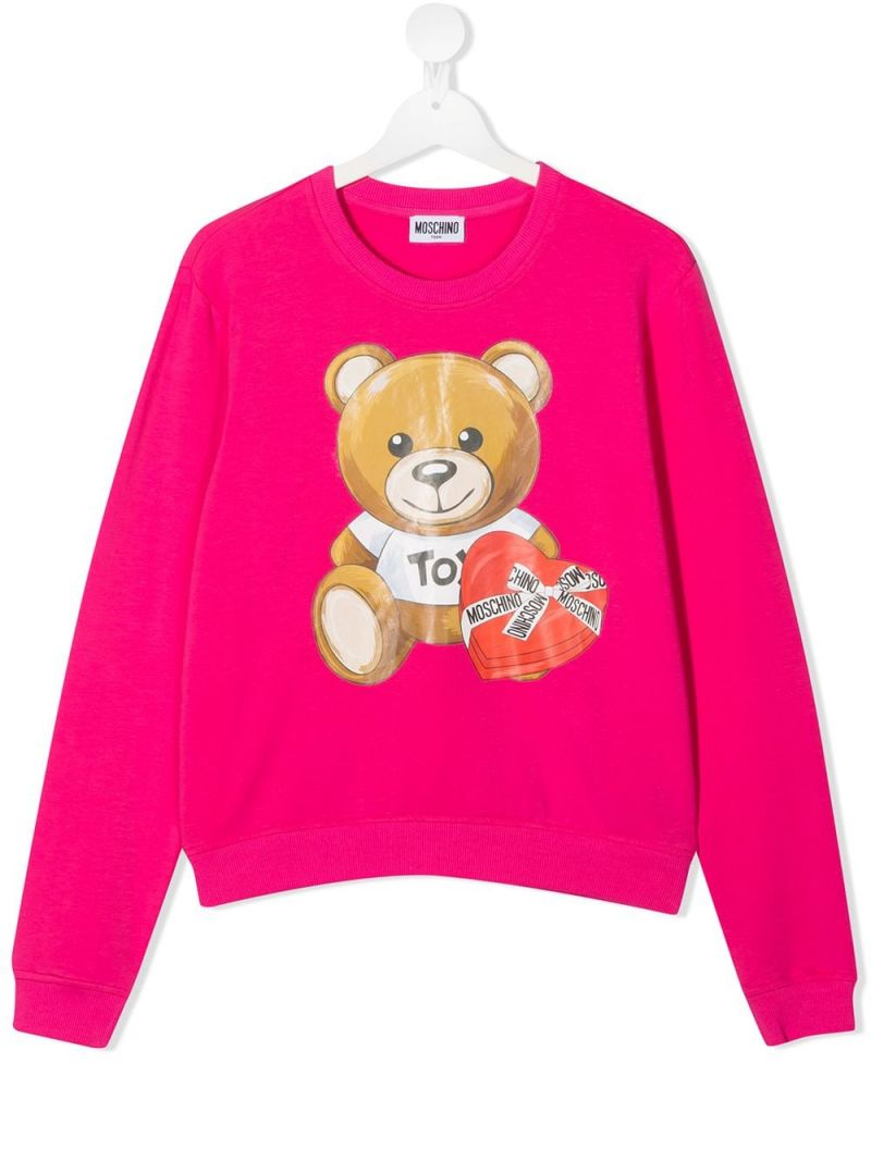 MOSCHINO KIDS: Chocolate Box Teddy stretch cotton sweatshirt Color Pink_1
