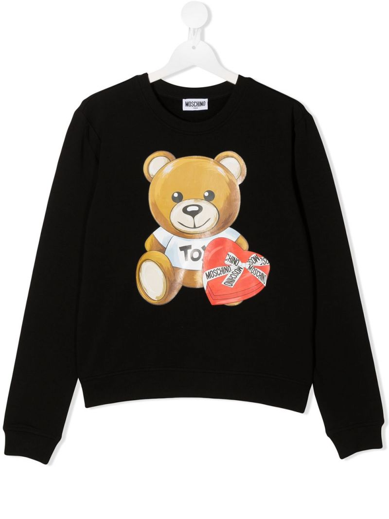 MOSCHINO KIDS: Chocolate Box Teddy stretch cotton sweatshirt Color Black_1