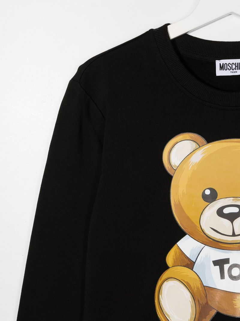 MOSCHINO KIDS: Chocolate Box Teddy stretch cotton sweatshirt Color Black_2