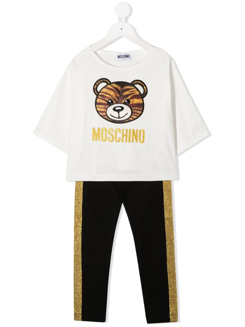 MOSCHINO KIDS: Tiger Teddy Bear stretch cotton t-shirt and leggings Color White_1