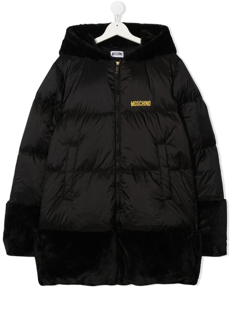 MOSCHINO KIDS: Tiger Teddy Bear nylon down jacket Color Black_1