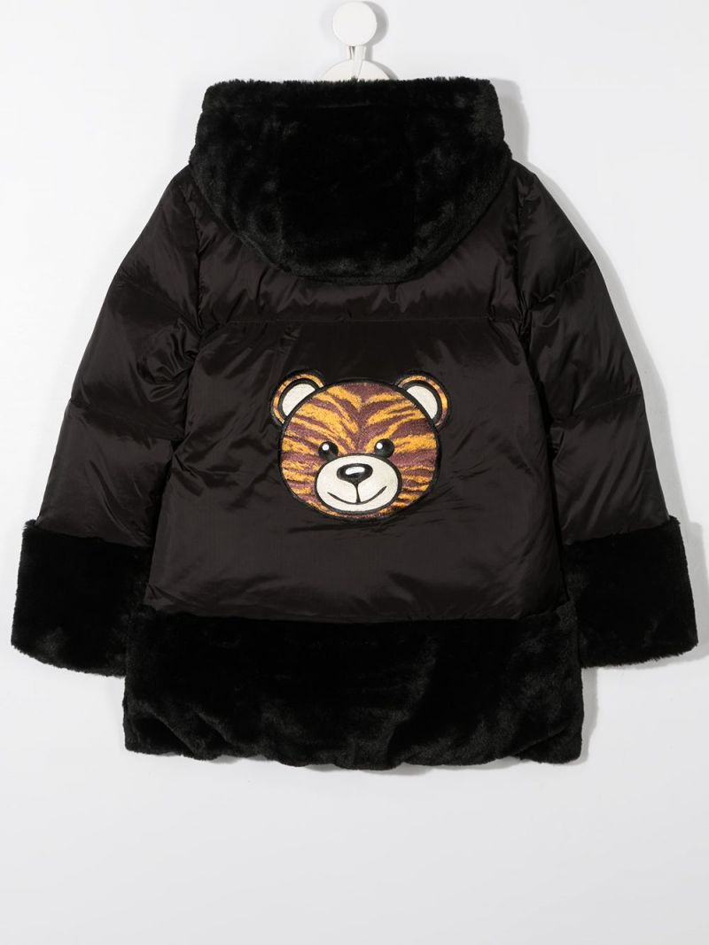 MOSCHINO KIDS: Tiger Teddy Bear nylon down jacket Color Black_2