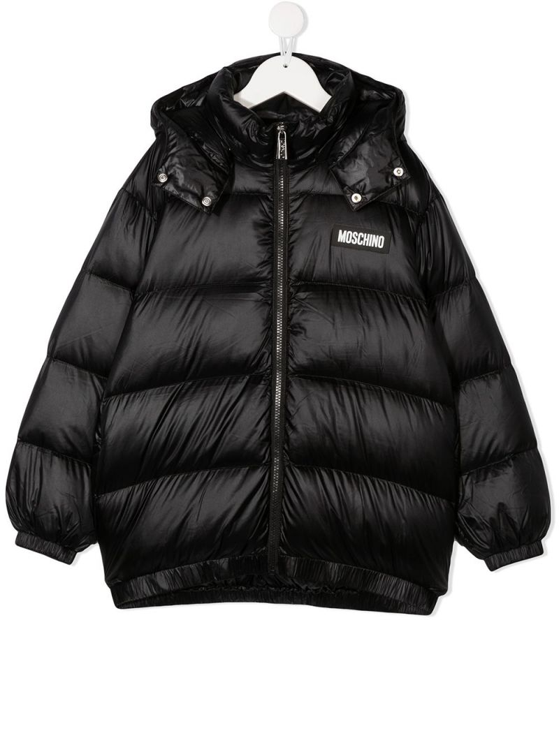 MOSCHINO KIDS: logo print nylon padded jacket Color Black_1