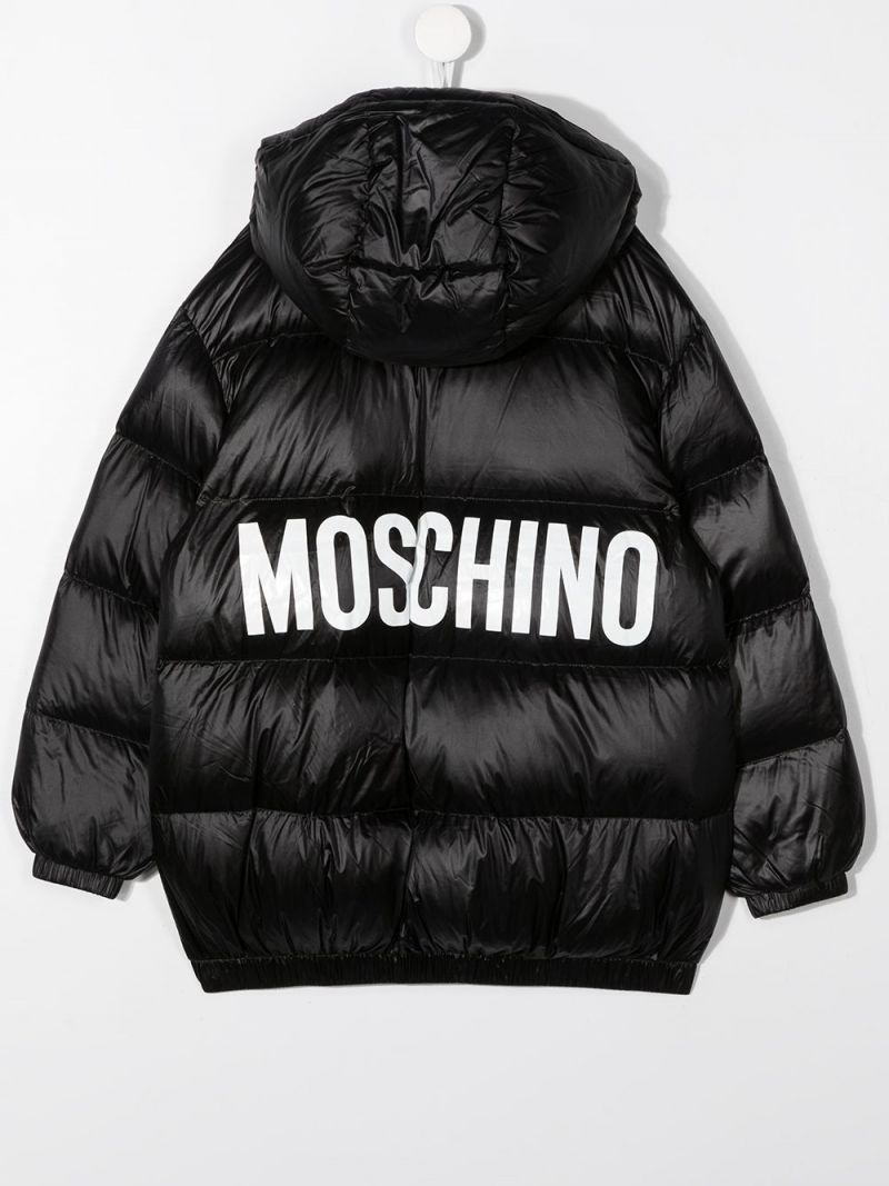 MOSCHINO KIDS: logo print nylon padded jacket Color Black_2