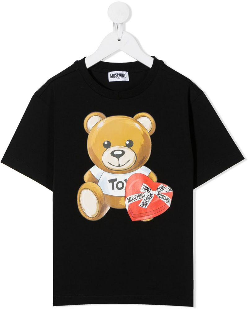 MOSCHINO KIDS: Moschino Teddy Bear print cotton t-shirt Color Black_1