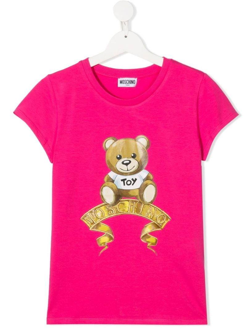 MOSCHINO KIDS: t-shirt in cotone stampa Moschino Teddy Bear Colore Rosa_1