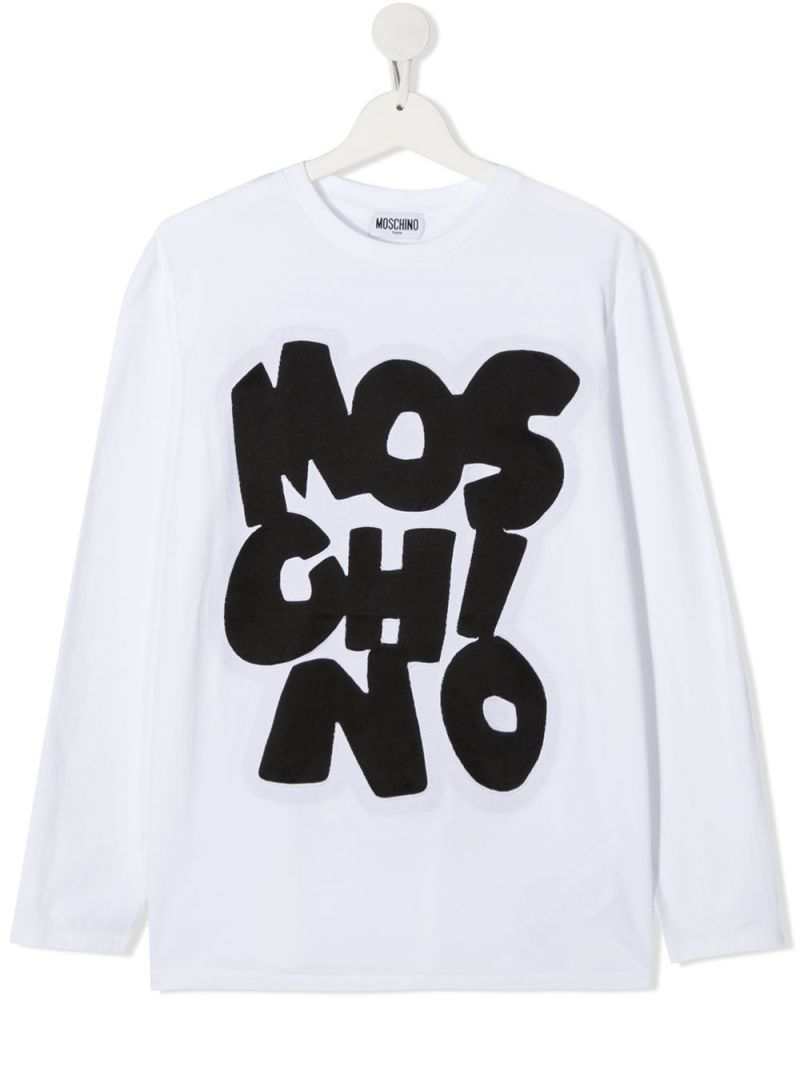 MOSCHINO KIDS: logo print cotton long-sleeved t-shirt Color White_1