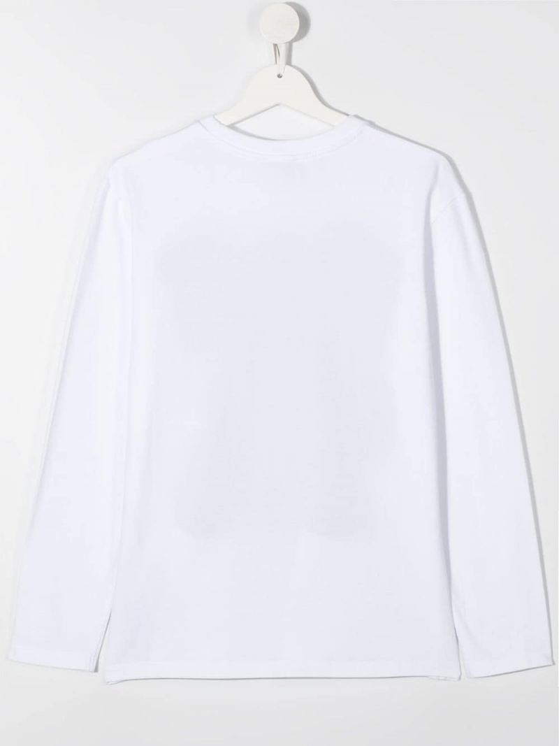 MOSCHINO KIDS: logo print cotton long-sleeved t-shirt Color White_2