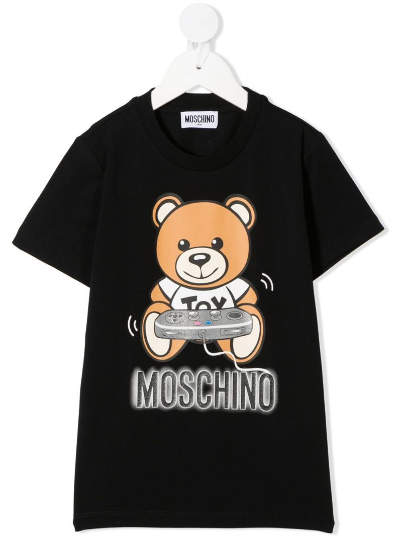 MOSCHINO KIDS: Gamer Teddy Bear print stretch cotton t-shirt Color Black_1