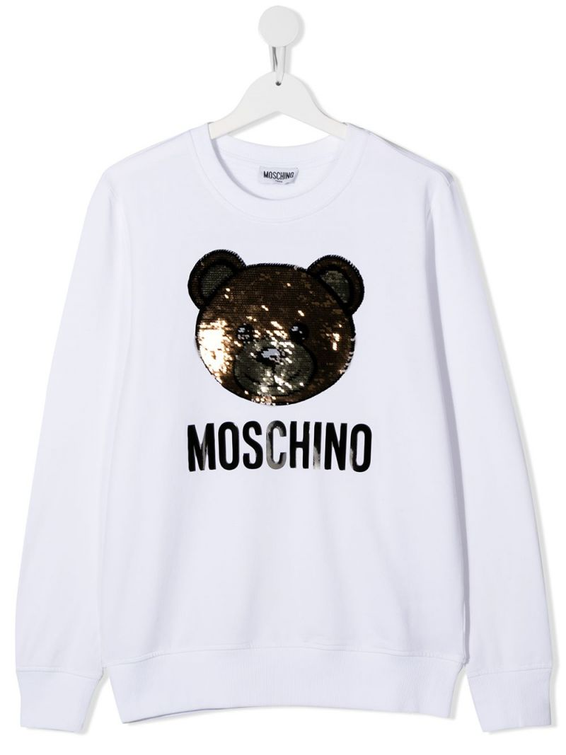 MOSCHINO KIDS: Teddy Bear embroidered stretch cotton sweatshirt Color White_1
