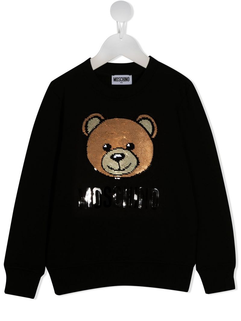MOSCHINO KIDS: Teddy Bear embroidered stretch cotton sweatshirt Color Black_1