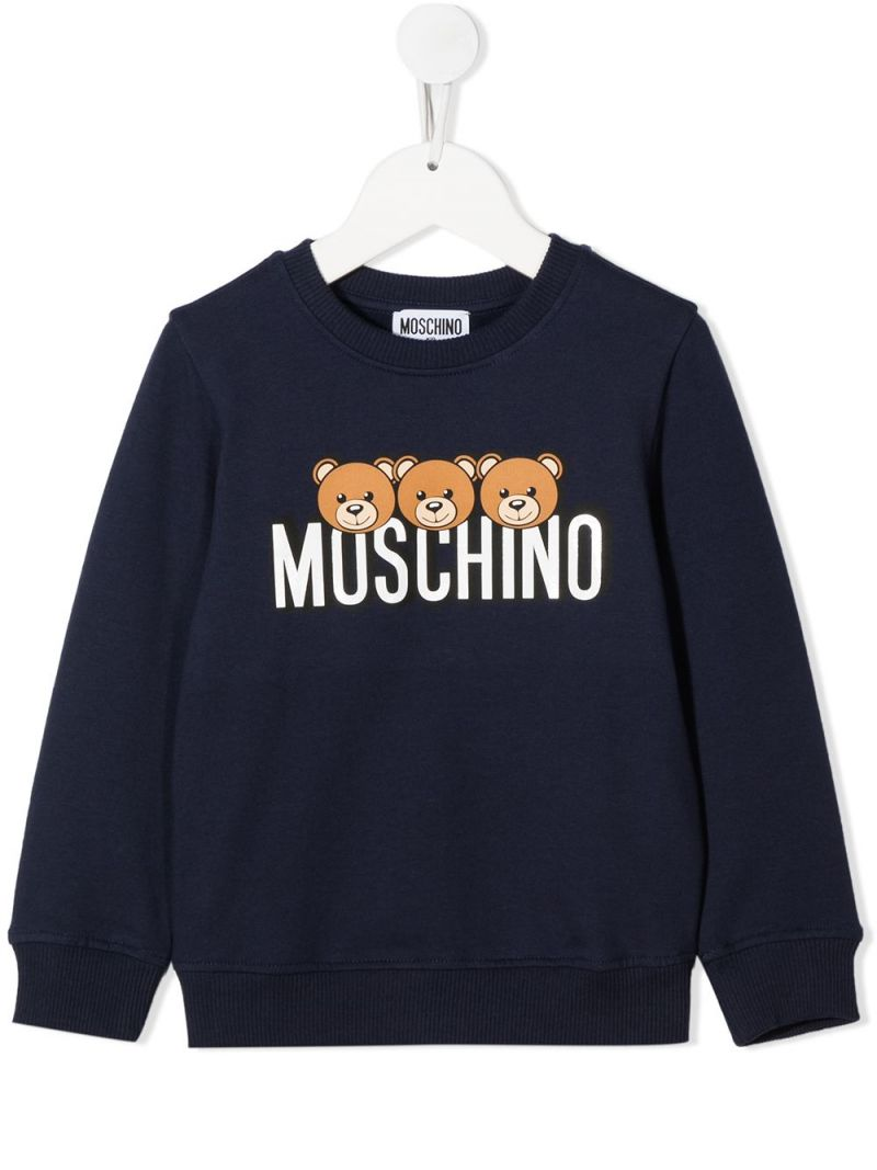 MOSCHINO KIDS: Moschino Teddy Bear print stretch cotton sweatshirt Color Blue_1