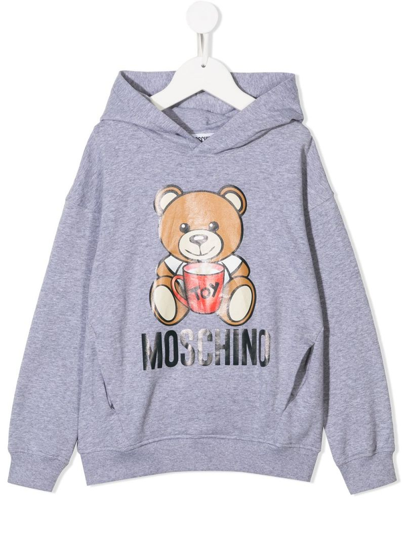 MOSCHINO KIDS: Mug Teddy Bear cotton blend hoodie Color Grey_1
