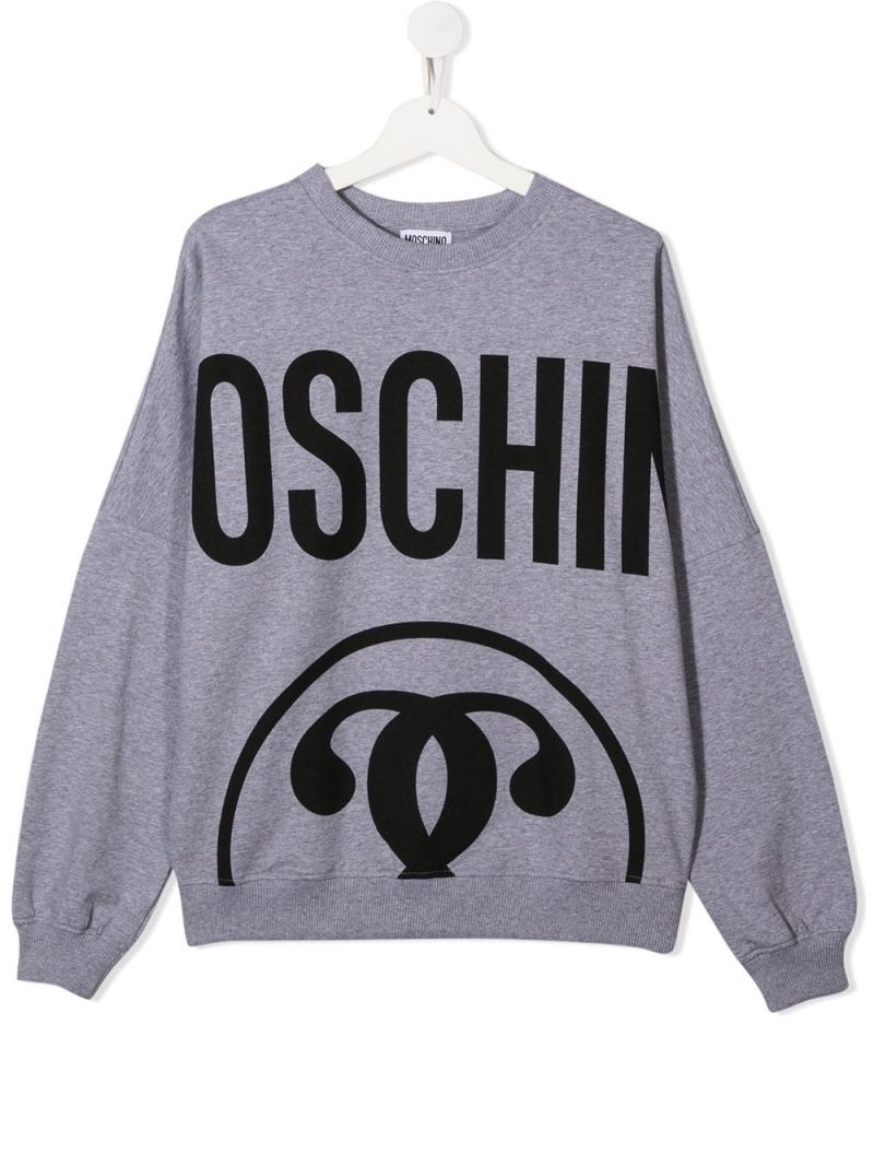 MOSCHINO KIDS: Double Question Mark stretch cotton sweatshirt Color Grey_1