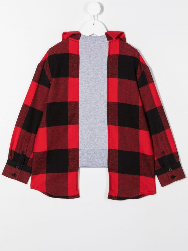 MOSCHINO KIDS: jersey and flannel sweatshirt Color Red_2