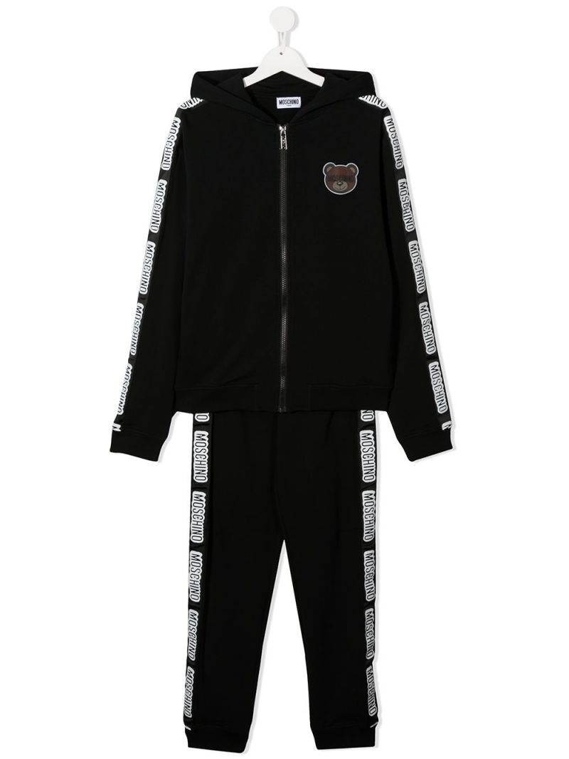 MOSCHINO KIDS: Teddy Bear print stretch cotton tracksuit Color Black_1
