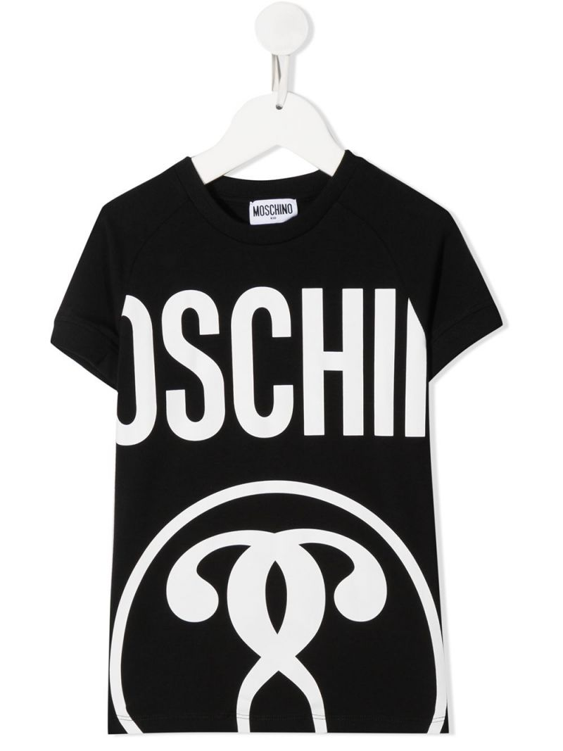 MOSCHINO KIDS: Double Question Mark stretch cotton t-shirt Color Black_1